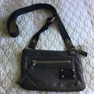 L.A.M.B. Brown Leather CrossBody Bag Canvas Straps